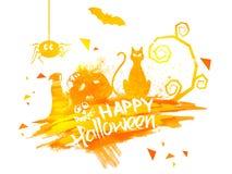 De gelukkige Affiche, de Banner of de Vlieger van Halloween Royalty-vrije Stock Foto's