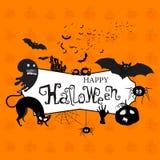 De gelukkige Affiche, de Banner of de Vlieger van Halloween Stock Afbeelding