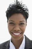 De gelukkige Amerikaanse Onderneemster van Afro royalty-vrije stock foto's