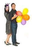De gelukkige ballons van de paarholding Royalty-vrije Stock Foto