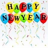 De gelukkige Ballons van het Nieuwjaar Stock Foto
