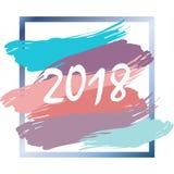 De gelukkige banner Nieuwjaar 2018 van het achtergrondaffichemalplaatje Stock Foto
