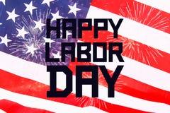 De gelukkige banner van de Arbeidsdag, Amerikaanse patriottische achtergrond, tekst op de Verenigde Staten van Amerika markeert stock afbeeldingen