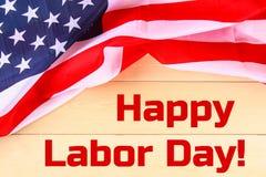 De gelukkige banner van de Arbeidsdag, Amerikaanse patriottische achtergrond, tekst op de Verenigde Staten van Amerika markeert royalty-vrije stock foto's