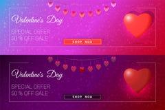 De gelukkige banner van de de dagverkoop van Valentine ` s Stock Foto's