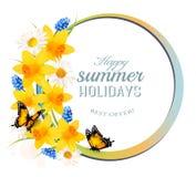De gelukkige banner van de de Zomervakantie met bloemen en vlinders vector illustratie