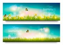 De gelukkige banner van de de zomervakantie met bloemen, gras en vlinders stock illustratie