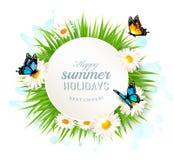 De gelukkige banner van de de zomervakantie met gras en vlinders vector illustratie