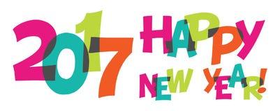 De gelukkige banner van de Nieuwjaar kleurrijke 2017 tekst Royalty-vrije Stock Foto's