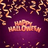 De gelukkige Banner van Halloween Gouden kronkelweg op violette achtergrond Royalty-vrije Stock Afbeelding