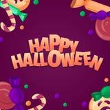 De gelukkige Banner van Halloween Kleurrijke snoepjes en suikergoedpictogrammen Stock Afbeelding