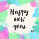 De gelukkige banner van het Nieuwjaar Vectorhand getrokken typografiekaart vector illustratie