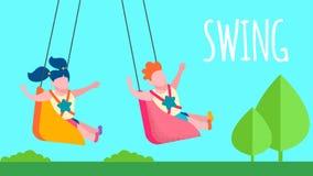 De gelukkige Banner van de de Schommelingstekst van het Kinderjarengeheugen Vlakke stock illustratie