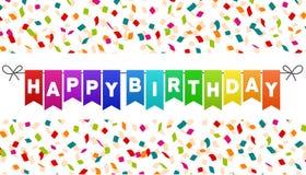 De gelukkige banner van Verjaardagsvlaggen Confettienachtergrond Royalty-vrije Stock Afbeelding
