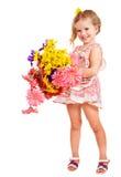 De gelukkige bloemen van de kindholding. Stock Foto's