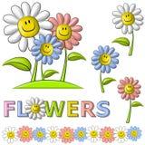 De Gelukkige Bloemen van het Gezicht van Smiley van de lente Stock Afbeelding