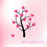 De gelukkige boom van de valentijnskaartendag met roze harten Stock Fotografie