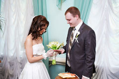 De gelukkige bruid draagt trouwring haar bruidegom Stock Foto