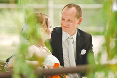 De gelukkige bruidegom en de bruid bekijken elkaar Stock Foto