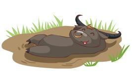De gelukkige buffels nemen een bad in modder Stock Illustratie