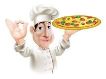 De gelukkige Chef-kok van de Pizza Stock Foto's