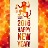 De gelukkige Chinese Kaart van de Nieuwjaar 2016 Groet dancing Stock Fotografie