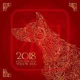 De gelukkige Chinese nieuwe jaarkaart is Chinese Lantaarn en honddierenriem in Chinees kader vectorontwerp Royalty-vrije Stock Foto's