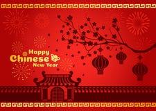 De gelukkige Chinese nieuwe jaarkaart is lantaarns op boom en vuurwerk en deuren en muur China royalty-vrije illustratie