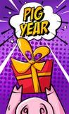 De gelukkige Chinese Nieuwjaarskaart met de neus van het beeldverhaalvarken, de gift en de tekst betrekken op purpere achtergrond royalty-vrije illustratie