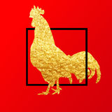 De gelukkige Chinese Nieuwjaarskaart van 2017 Vectoraffiche van een gouden die haan op rode achtergrond wordt geïsoleerd Ontwerpm Royalty-vrije Stock Foto's