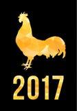 De gelukkige Chinese Nieuwjaarskaart van 2017 Vectoraffiche van een gouden die haan op zwarte achtergrond wordt geïsoleerd Ontwer Stock Foto