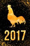 De gelukkige Chinese Nieuwjaarskaart van 2017 Vectoraffiche van een gouden die haan op zwarte achtergrond wordt geïsoleerd Ontwer Stock Afbeelding
