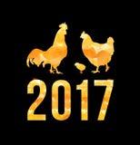De gelukkige Chinese Nieuwjaarskaart van 2017 Vectoraffiche van een gouden die haan op zwarte achtergrond wordt geïsoleerd Ontwer Royalty-vrije Stock Foto's