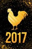 De gelukkige Chinese Nieuwjaarskaart van 2017 Vectoraffiche van een gouden die haan op zwarte achtergrond wordt geïsoleerd Ontwer Stock Foto's