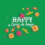 De gelukkige Cinco de Mayo-document kaart van de kunst Mexicaanse bloem