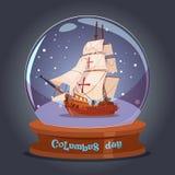 De gelukkige Columbus Day Ship In Glass-Kaart van de de Affichegroet van de Balvakantie Stock Fotografie