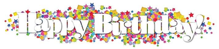 De gelukkige Confetti van de Verjaardagsbanner speelt Kleurrijk mee stock illustratie