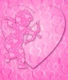 De gelukkige Cupido van de Dag van Valentijnskaarten met Boog en Pijl Stock Foto
