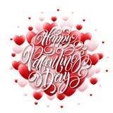 De gelukkige 3D Harten van Valentine Day Calligraphy Background With Vector illustratie Royalty-vrije Stock Foto's