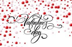 De gelukkige 3D Harten van Valentine Day Calligraphy Background With Vector illustratie Royalty-vrije Stock Fotografie
