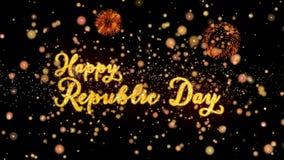 De gelukkige de Dag Abstracte deeltjes van de Republiek en schitteren de kaarttekst van de vuurwerkgroet royalty-vrije illustratie
