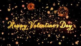 De gelukkige de Dag Abstracte deeltjes van Valentine ` s en schitteren de kaarttekst van de vuurwerkgroet royalty-vrije illustratie