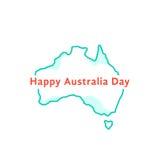 De gelukkige dag van Australië met groen continent stock illustratie
