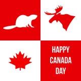 De gelukkige Dag van Canada Silhouetten van symbolen van Canada Vectorillus Royalty-vrije Stock Afbeeldingen