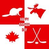 De gelukkige Dag van Canada Silhouetten van symbolen van Canada Vectorillus Royalty-vrije Stock Fotografie