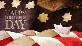 De gelukkige dag van Columbus Sterren en strepen royalty-vrije stock foto