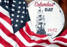 De gelukkige dag van Columbus De vlag van Verenigde Staten stock afbeelding