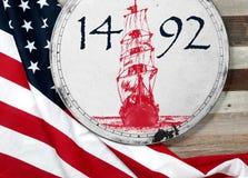 De gelukkige dag van Columbus De vlag van Verenigde Staten stock fotografie