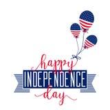 De gelukkige Dag van de Onafhankelijkheid 4 juli vierde Vector - Gedenkteken Vlag Patriottisch vier Royalty-vrije Stock Foto's