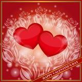 De gelukkige Dag van de Valentijnskaart `s Twee rode harten binnen van bloemen Feestelijk malplaatje als achtergrond voor groetka Royalty-vrije Stock Fotografie